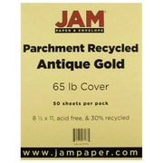 "JAM Paper® 8 1/2"" x 11"" 65 lb.. Parchment Recycled Cover Cardstock, Antique Gold, 50 Sheets/Pack"