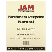 "JAM Paper® 65 lb. 8 1/2"" x 11"" Parchment Recycled Cover Cardstock, Natural, 50 Sheets/Pack"