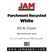 "JAM Paper® 65 lb. 8 1/2"" x 11"" Parchment Recycled Cover Cardstock, White, 50 Sheets/Pack"