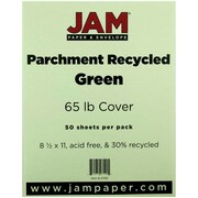 "JAM Paper® 65 lb. 8 1/2"" x 11"" Parchment Recycled Cover Cardstock, Green, 50 Sheets/Pack"