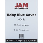 "JAM Paper® 80 lb. 8 1/2"" x 11"" Cover Cardstock, Baby Blue, 50 Sheets/Pack"
