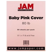 """JAM Paper® 80 lb. 8 1/2"""" x 11"""" Cover Cardstock, Baby Pink, 50 Sheets/Pack"""
