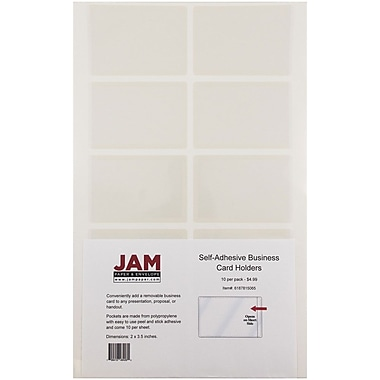 JAM Paper® Self Adhesive Business Card Holder Pocket, Clear, 30/pack (6187815065B)