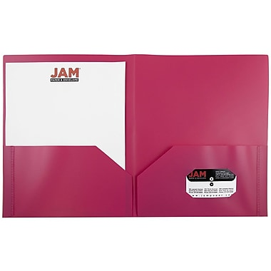 JAM Paper® Plastic Biodegradable Two Pocket Eco Folder, Pink, Sold Individually