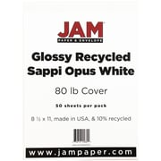 JAM Paper® Glossy Cardstock 2-sided, 8.5 x 11, 80lb White, 50/pack (01034702F)