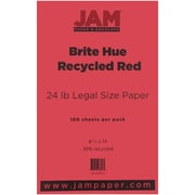"JAM Paper® 24 lb. 8 1/2"" x 14"" Brite Hue Recycled Legal Paper, Red, 100/Pack"