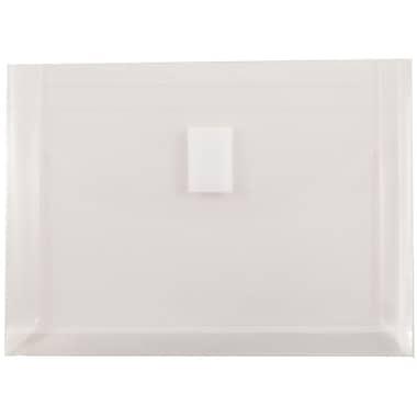 JAM Paper® Plastic Envelopes, VELCRO® Brand Closure, 1 Expansion, Index Booklet, 5 1/2 x 7 1/2, Clear Poly, 12/Pack (920V1CL)