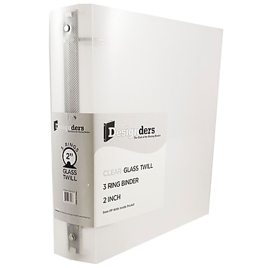 JAM Paper Designder Glass Twill 2-Inch Round 3-Ring Binder, Clear (820T2cl)