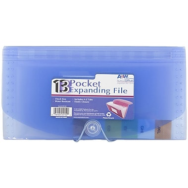 JAM Paper® Check Size 13 Pocket Expanding File, Blue, Sold Individually