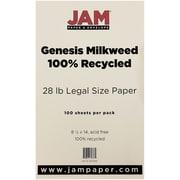 """JAM Paper® 8 1/2"""" x 14"""" Recycled 28 lb. Paper, Milkweed Genesis, 100/Pack"""
