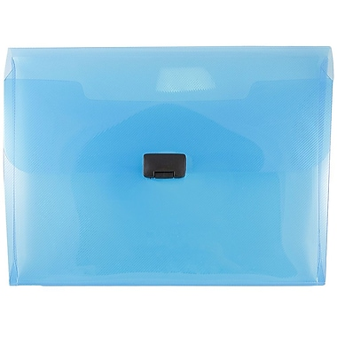 JAM Paper® Plastic Portfolio with Center Buckle Closure, 9 1/2 x 13 1/4 x 1 1/8, Blue, Sold Individually (550BLUE)