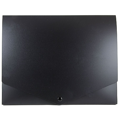 JAM Paper® Plastic Portfolio with Snap Closure, Medium, 10 x 12.5 x 0.75, Black, Sold Individually (2000027)