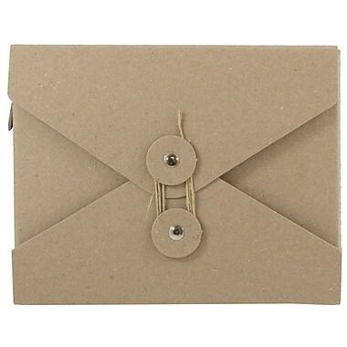 JAM Paper® Kraft Chipboard Portfolio, Button and String Tie Closure, Small, 5.5 x 6.75 x 1, Natural Kraft, 1/pk (6170 201)