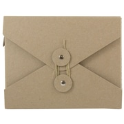 """JAM Paper® 5 1/2"""" x 8 1/2"""" x 1"""" Chipboard Small Portfolio With Button and String Closure, Natural Kraft, Sold Individually"""