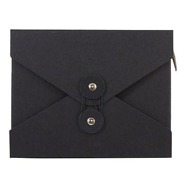 JAM Paper® Kraft Chipboard Portfolio, Button and String Tie Closure, Small, 5.5 x 6.75 x 1, Black Kraft, 1/pk (6170 202)