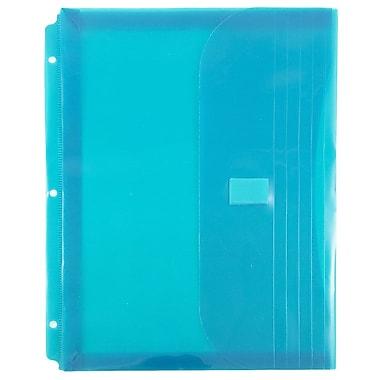 JAM Paper® Plastic 3 Hole Punch Binder Envelopes, VELCRO® Brand Closure, 1 Expansion, 8.6 x 11.5, Teal Blue, 12/Pack (218VB1TE)