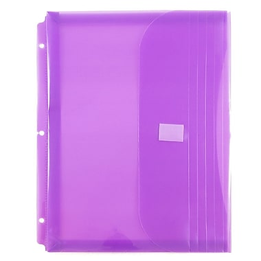 JAM Paper® Plastic 3 Hole Punch Binder Envelopes, VELCRO® Brand Closure, 1 Expansion, 8.6 x 11.5, Lilac Poly, 12/Pack (218VB1LI)