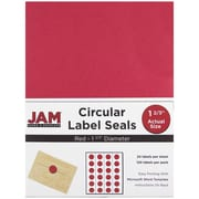 JAM Paper® Round Circle Label Sticker Seals, 1 2/3 inch diameter, Red, 120/pack (3147612194)