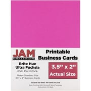 "JAM Paper 3.5"" x 2"" Printable Business Cards, Bright Hue Fuchsia Pink 100/pack"