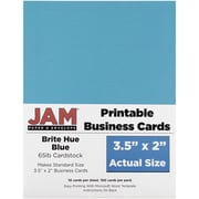 JAM Paper® Two Sided Printable Business Cards, 2 x 3.5, Bright Hue Blue Recycled, 100/pack (22128333)