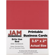 JAM Paper® Two Sided Printable Business Cards, 2 x 3.5, Bright Hue Red Recycled, 100/pack (22128334)