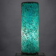 Toltec Lighting 12'' H Table Lamp with Drum Shade; Turquoise