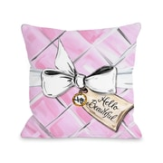 One Bella Casa Hello Beautiful Quilted Bow Quilted Polyester Throw Pillow; 18'' x 18''