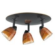 Cal Lighting Serpentine 3 Light Spot Light; Amber Swirl Glass