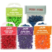 JAM Paper, Push Pins, Assorted Colorful Push Pins, 100 Pins per Pack, 5 Colored Packs, 500/Pack, (224PPrgopb)