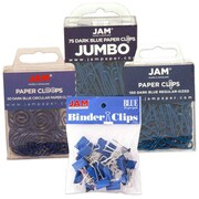 JAM Paper® Blue Office Clip Assortment Pack, 4 Pack Total (26411BUasrtd)