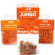 JAM Paper® Orange Office Clip Assortment Pack - Binder Clips, Round Paper Cloops and Paper Clips, 1 Pack Each Clip