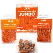 JAM Paper® Office Clip Assortment Pack, Orange, 1 Binder Clips 1 Paperclips 1 Circular Cloops, 4/set (26411ORASRTD)