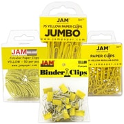 JAM Paper® Yellow Office Clip Assortment Pack - Binder Clips, Round Paper Cloops and Paper Clips, 1 Pack Each Clip