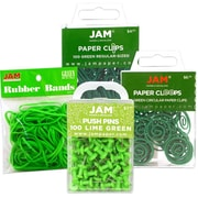 JAM Paper® Green, Office Supply Assortment, Rubber Bands, Push Pins, Paper Clips & Round Paper Cloops, 4/Pack, (3224grOasrt)