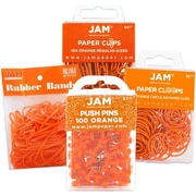 JAM Paper® Orange Office Supply Assortment Pack, Rubber Bands, Push Pins, Paper Clips & Round Paper Cloops, 4/Pack (3224orOasrt)