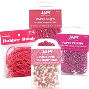JAM Paper® Office Supply Assortment, 1 pack Rubber Bands, Push Pins, Paper Clips, Round Paperclips, Pink, 4/pack (3224PIOASRT)