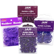 JAM Paper® Purple Office Supply Assortment Pack - Rubber Bands, Push Pins, Paper Clips & Round Paper Cloops, 1 Pack Each