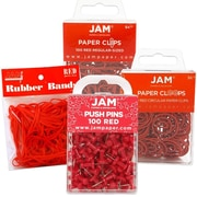 JAM Paper® Red Office Supply Assortment, Rubber Bands, Push Pins, Paper Clips, Round Paper Cloops, 4/Pack, (3224reOasrt)