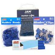 JAM Paper® Blue Desk Supply Assortment, One Pack Each Rubber Bands, Colored Staples, Binder Clips and Paper Clips (3345BUasrtd)