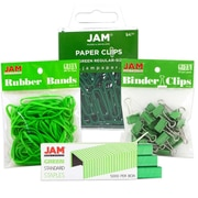 JAM Paper® Desk Supply Assortment Pack, 1 pack Rubber Bands, Binder Clips, Staples, Paperclips, Green, 4/pk (3345GRASRTD)