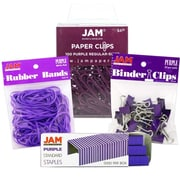 JAM Paper® Desk Supply Assortment Pack, 1 pack Rubber Bands, Binder Clips, Staples, Paperclips, Purple, 4/pack (3345PRASRTD)