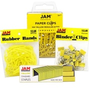 JAM Paper® Desk Supply Assortment Pack, 1 pack Rubber Bands, Binder Clips, Staples, Paperclips, Yellow, 4/pack (3345YEASRTD)