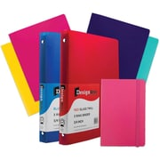 "JAM Paper® Back To School Assortments, Classwork Pack, 4 Heavy Duty Folders, 2 0.75"" Binders, 1 Journal, Pink,7/pk (383CWPASSRT)"