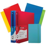 "JAM Paper® Back To School Assortment, Blue, Classwork Pack, 4 Glossy Folders, 2 1"" Binders, Journal, 7/Pack, (385CW1Bassrt)"