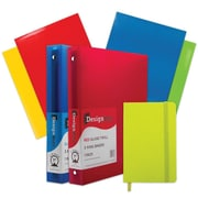 "JAM Paper® Back to School Assortment, Green, Classwork Pack, 4 Glossy Folders, 2 1"" Binders, Journal, 7/Pack (385CW1Gassrt)"