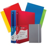 "JAM Paper® Back To School Assortments, Classwork Pack, 4 Glossy Folders, 2 1"" Binders, 1 Journal, Grey, 7/pack (385CW1GRASSRT)"