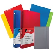 "JAM Paper® Back To School Assortments, Classwork Pack, 4 Glossy Folders, 2 0.75"" Binders, 1 Journal, Grey, 7/pack (385CWGRASSRT)"