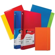 "JAM Paper® Back To School Assortments, Classwork Pack, 4 Glossy Folders, 2 0.75"" Binders, 1 Journal, Orange, 7/pk (385CWOASSRT)"