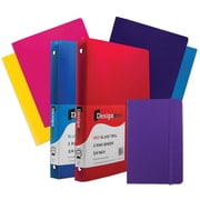 "JAM Paper® Back To School Assortments, Classwork Pack, 4 Glossy Folders, 2 0.75"" Binders, 1 Journal, Purple, 7/pk (385CWPRASSRT)"
