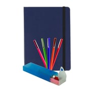 JAM Paper® Back To School Artist Writer Pack, Blue, 5-Fine Point Pen Markers, 1-Pen Case, 1-Journal, 7 Items Total (7655Bassrt)